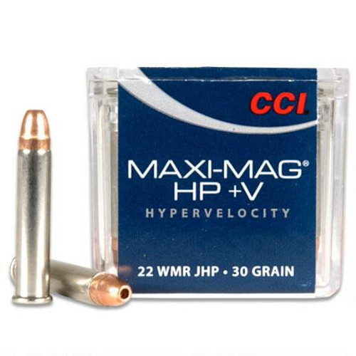 CCI MAXI-MAG .22 magnum 30 Grain Jacketed Hollow Point +V, has 50 rounds per box, manufactured by CCI.