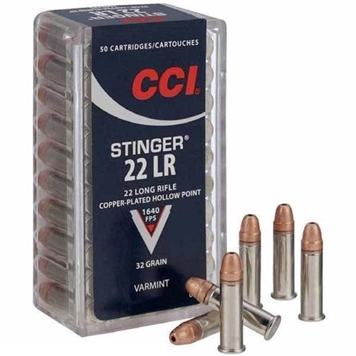 CCI Mini-Mag .22 long rifle 32 Grain Copper-Plated Hollow Point, has 50 rounds per box, manufactured by CCI.