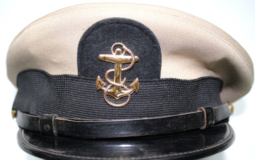 Bancroft Naval Dress Cap- Tan- Anchor Service Badge