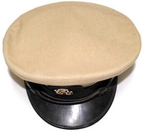 "Bancroft Naval Dress Cap- Tan- ""USN"" Anchor Service Badge"