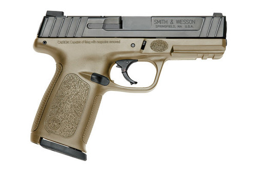 This is a Smith & Wesson SD9VE 9mm, FDE frame. Comes with (2) 16 round magazines.