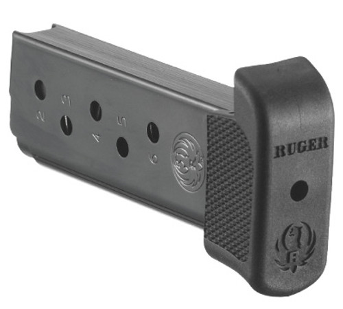 This is an extended factory magazine for the Ruger LCP .380 acp, it has a maximum capacity of 7 rounds.