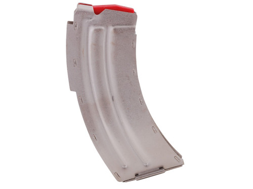 This is a 10 round factory stainless steel magazine for the Savage MKII series rifle chambered in .22 long rifle, or 17 mach 2.