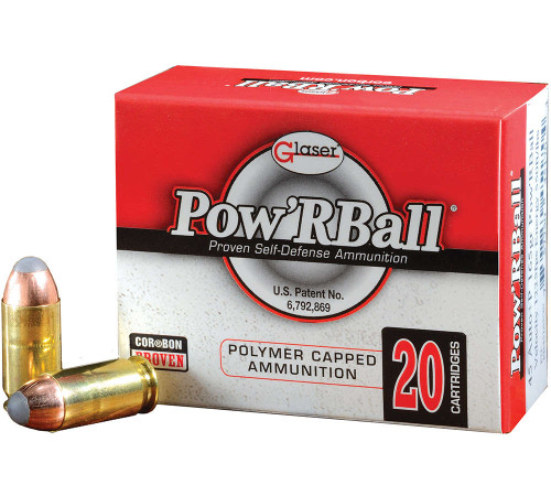 Glaser Pow'R Ball 40s&w 135 Grain Brass, has 20 rounds per box, manufactured by Corbon.