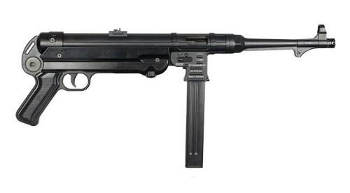 This is a GSG MP 40 pistol chambered in 9mm.