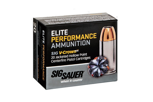 Sig Sauer V-Crown  9mm 115 Grain Brass Jacketed Hollow Point, has 20 rounds per box.