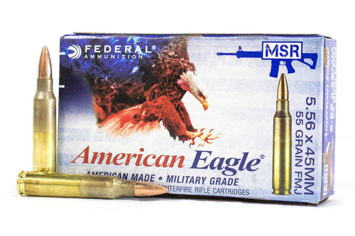 Federal 5.56 Nato 55 Grain FMJ, has 20 rounds per box, manufactured by Federal. XM193