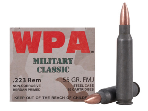 This is a box of Wolf Military Classic ammunition in the .223 remington caliber, 55 grain FMJ, 20 rounds / box.