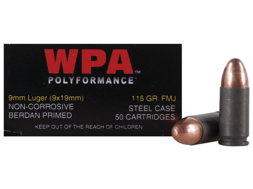 Wolf Polyformance 9mm 115 Grain FMJ, has 50 rounds per box, manufactured by Wolf.