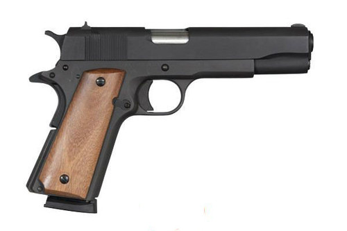 "This is a Rock Island Armory 1911 .45 acp. This model has a parkerized finish on a steel frame. 5"" barrel, comes with one 8 round magazine."