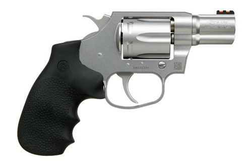 This Colt Cobra is in 38 Special and can handle the +P loads. Houge grip with a stainless steel finish topped of with a Fiber Optic front sight.
