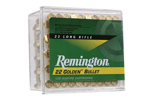 Remington Golden Bullet .22 long rifle 36 Grain Plated Lead Round Nose Hollow Point, has 100 rounds per pack, manufactured by Remington.