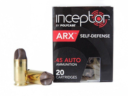 Inceptor .45 acp 114 Grain Polyase, has 20 rounds per box, manufactured by Inceptor.