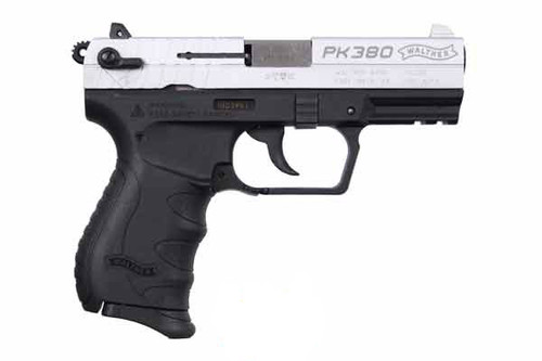 This is a Walther PK380 .380 acp. With Nickel slide