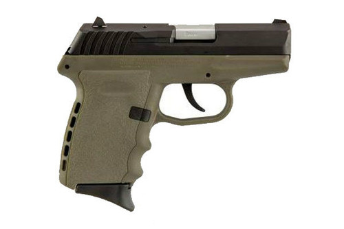 This is a SCCY pistol, model CPX-2, with a FDE (flat dark earth) frame and a blued slide. Comes with (2) 10 round magazines.
