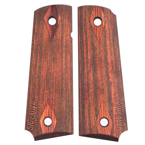 "This is a pair of grips for the Sig Sauer 1911. Made with Rosewood Laminate with the classic double diamond design. The ""Sig Sauer"" logo also stippled on the grips."