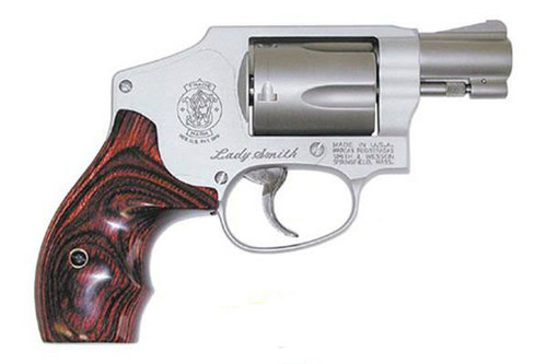 This is a Smith & Wesson 642 Lady Smith, .38 special revolver with satin stainless finish and a 5 shot capacity, with internal lock.
