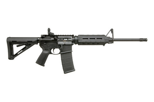 This is a Ruger AR-556 Rifle chambered in 5.56 NATO. With MAGPUL MOE furniture