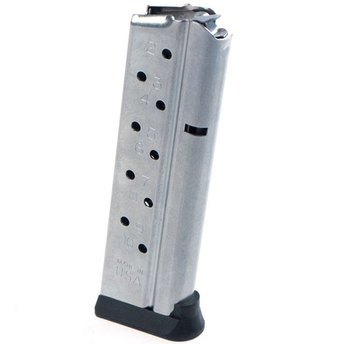 This is a 10 round 9mm 1911 magazine manufactured by Zenith Firearms