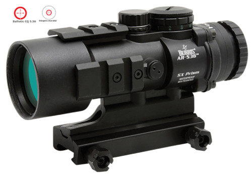 This is a Burris AR-536 5x36mm prism sight with a Ballistic / CQ Reticle, with a matte black finish.