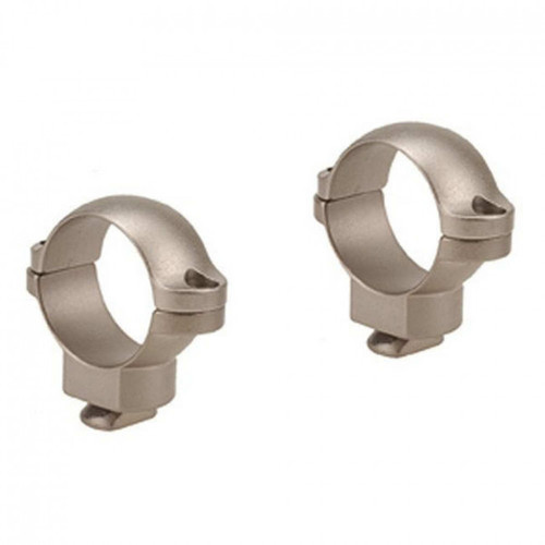 """These are standard 1"""" diameter medium; silver scope rings manufactured by Leupold"""