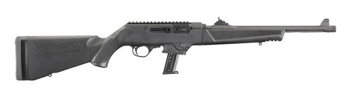 This is a PC-9 Carbine that accepts Ruger SR9 magazines and Glock Magazines. This model also has the take down feature along with a threaded barrel.