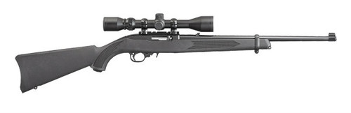 This is a 10/22 chambered in 22 long rifle, Manufactured by Ruger. This firearm comes with a scope already on the rifle and a hard case for transportation.