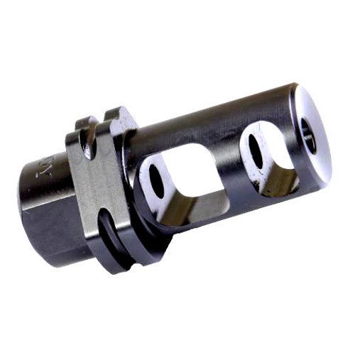 This is a Troy Industries muzzle brake. Muzzle brake has dual chambers and has a suppressor mount, manufactured in the USA.