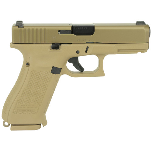 This is a Glock 19x chambered in 9x19(9mm) with night sights and a coyote brown finish.