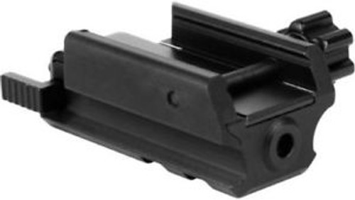 low profile pistol laser that mounts to a picatinny rail. Manufactured by Aim Sports. Laser has rail slots located for even more mounting options.