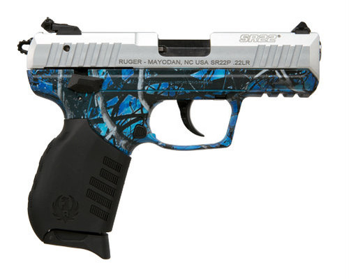 Ruger SR22 .22 lr.  With a Moon Shine Reduced Undertow Camo