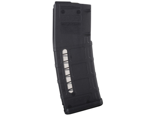 This is a black MOE 30 round AR-15 magazine .223 / 5.56 with a viewing window, made by Magpul.
