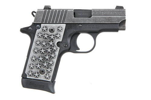 """Sig Sauer P238 .380 acp. This is a special edition """"We The People"""" that comes with custom aluminum grips embossed with 50 stars. Comes with (1) - 7 rd magazines."""