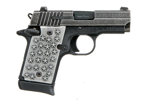 "Sig Sauer P938 9mm. This is a special edition ""We The People"" that comes with custom aluminum grips embossed with 50 stars. Comes with (1) - 7 rd magazines."