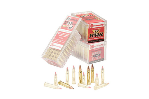 Hornady ammunition, 17 HMR 20 Grain XTP, it has 50 rounds per box, manufactured by Hornady.