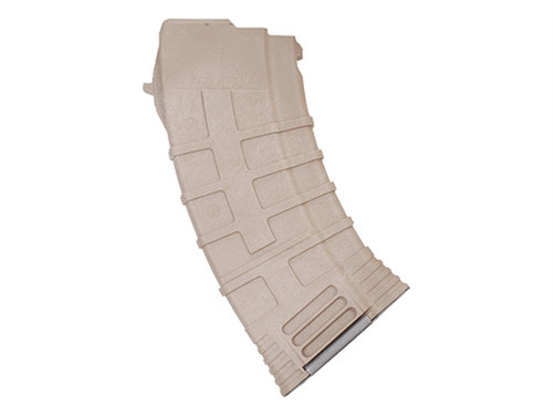 This is a AK-47 magazine 7.62x39mm. It has a maximum capacity of 20 rounds and was made by Tapco and is colored Flat Dark Earth.