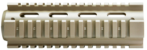 """AR-15  quad rail for the 6.5"""" carbine length. This rail in made out of aluminum and is Powder Coated in FDE. You will need a delta ring (not included) for this to be installed."""