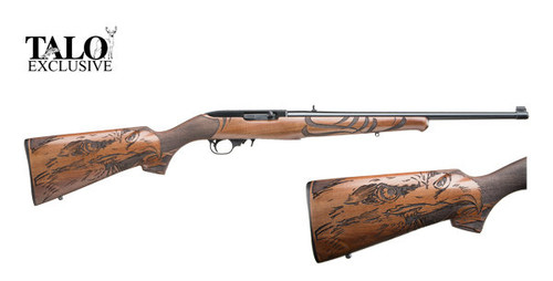 10/22 chambered in 22 long rifle, Manufactured by Ruger. This Talo special edition has an Eagle engraved into the Walnut stock