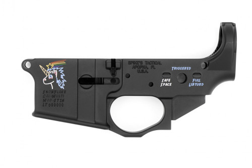 "This is a factory Spike's Tactical AR-15 lower receiver. Called the ""Snowflake"" this lower has a unique theme, that features a unicorn. For the selector switch instead of safe, semi, full auto the lower reads ""SAFE SPACE, TRIGGERED, FULL LIBTURD"".  This lower has been color filled to further enhance the Snowflakey Awesomeness of this receiver."