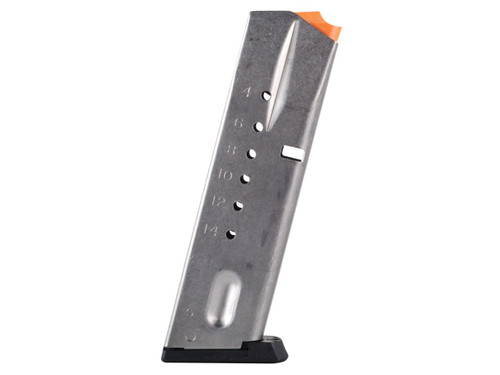 This is an USED 15 round factory magazine for the Smith & Wesson 9mm 5900 series pistol. It fits models 59, 459, 659, 910, 915, 5903, 5904, 5906, 5923, 5924, 5926, 5943, 5944, and 5946.