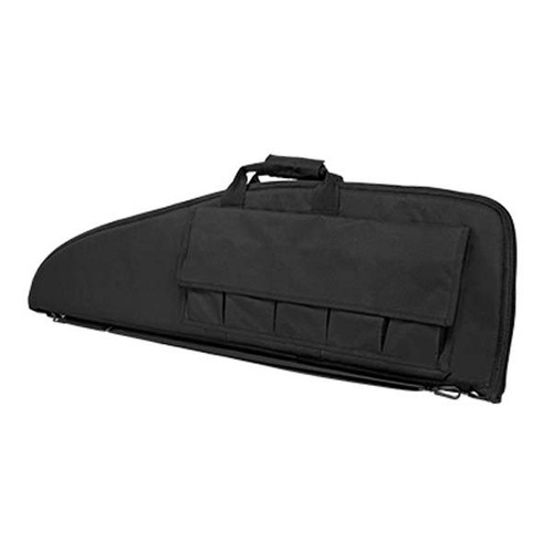 "This Vism rifle case in Black. It is 36"" long and 13"" tall. It fits most AR-15 style rifles and comes with five pouches to hold extra magazines."