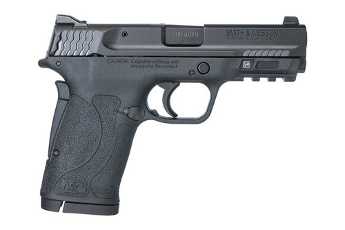 Smith & Wesson M&P 380 Shield EZ, with no thumb safety. Great concealed carry gun weighing in at a 18.5 ounces. Comes with (2) - 8 Round Magazine