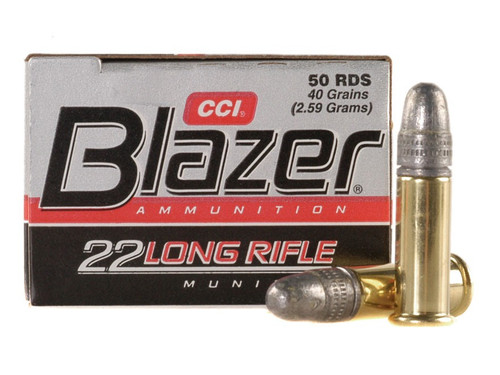 CCI Blazer .22 long rifle 40 Grain Lead Round Nose, has 50 rounds per box, manufactured by CCI.