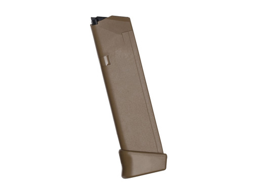 Glock magazine for the 19x 9mm, Gen 4, 19 round capacity. This magazine is in Coyote Tan.