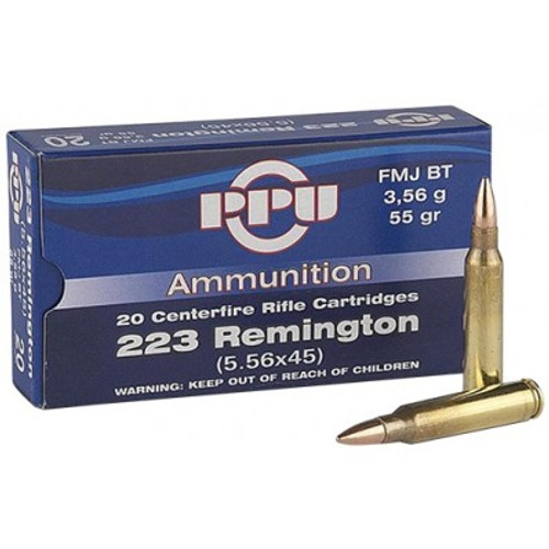 .223 Remington with 20 rounds per box, brass case 55gr FMJBT. Manufactured by PPU!
