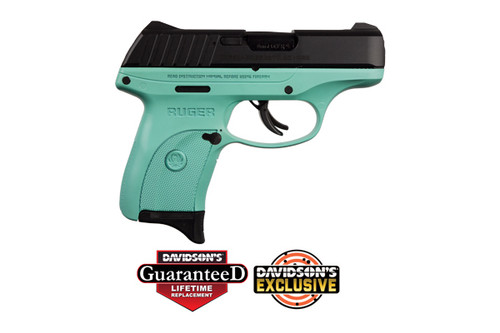 Ruger EC9s chambered in 9mm with a Turquoise Cerakote Frame and blued slide.