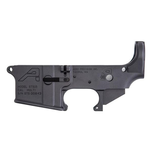 lower receiver for an AR15 Manufactured by Aero Precision. This model is the STS (Short Throw Safety). This lower can accept standard 90 Degree safety, along with a 60 or a 45 degree safety