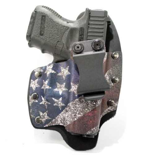 This IWB Glock 43 American Flag holster combines the comfort of leather with the stability and precision of a kydex mold. 45 Degree belt clip.