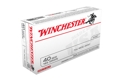 new box of Winchester ammunition in the 40 s&w caliber, 165 grain FMJ bullets and come 100 rounds per box.