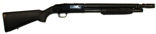 Used Mossberg 500 w/ a breacher barrel. Also upgraded with a heat shield and FAB Defense Pump handle. Includes Side saddle